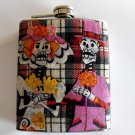 Stainless Steel Flask - 8oz., Day of the Dead Couple with Black and White Striped Background
