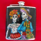 Stainless Steel Flask - 6oz., Day of the Dead Skeleton Couple with Black Background