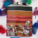 Stainless Steel Flask - 6oz., Day of the Dead Skeletons Drinking Striped Background