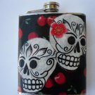 Stainless Steel Flask - 8oz., Day of the Dead Sugar Skulls with Cherry Background