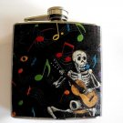 Stainless Steel Flask - 6oz., Day of the Dead Skeleton Playing Guitar,  Music Note Background