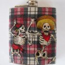 Stainless Steel Flask - 8oz., Day of the Dead Dancing Skeletons Striped Background