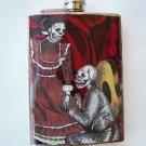 Stainless Steel Flask - 8oz., Day of the Dead Proposing Skeletons with Rose Background