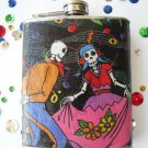 Stainless Steel Flask - 8oz., Day of the Dead Dancing Skeletons with Cherry Background