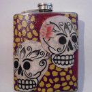 Stainless Steel Flask - 8oz., Day of the Dead Sugar Skulls with Purple and Yellow Background