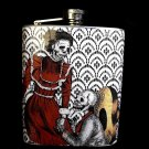 Stainless Steel Flask - 8oz., Day of the Dead Proposing Skeletons with Black and White Background