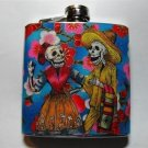 Stainless Steel Flask - 6oz., Day of the Dead Skeleton Couple with Blue Flower Background