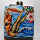 Stainless Steel Flask - 6oz., Pin Up Girl with Water Background