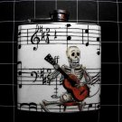 Stainless Steel Flask - 6oz., Day of the Dead Skeleton with Music Note Background