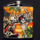Stainless Steel Flask - 6oz., Day of the Dead Celebrating Skeletons with Tropical Orange Background