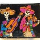 Hand Decorated Wallet, Skeletons Playing Instruments Print