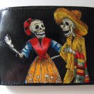 Hand Decorated Wallet, Skeleton Couple in Tan Print