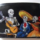 Hand Decorated Wallet, Day of the Dead Skeletons with Guitar