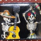 Hand Decorated Wallet, Day of the Dead Skeleton Couple Dancing