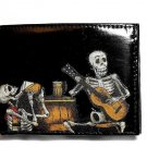 Hand Decorated Wallet, Drinking Day of the Dead Skeletons