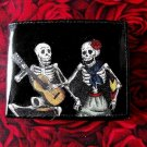 Hand Decorated Wallet, Day of the Dead Skeleton Couple Playing and Dancing