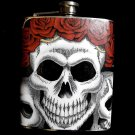 Stainless Steel Flask - 8oz., Skull and Roses with Black Background