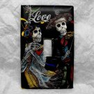 Single Switch Plate Cover, Day of the Dead Skeleton Couple with Black Background