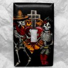 Single Switch Plate Cover, Day of the Dead Skeletons, Cross, and Sacred Heart Print