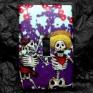 Single Switch Plate Cover, Day of the Dead Skeleton Couple with Purple Flower Background