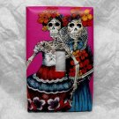 Single Switch Plate Cover, Day of the Dead Skeleton Women with Pink Background