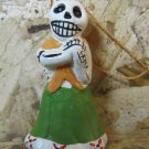 Quinoa Clay Day of the Dead Figure, Women in Green Skirt with Orange Shawl