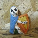 Ceramic Day of the Dead Figure, Man in Blue Cloak Playing Harp