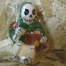 Day of the Dead Candle, Man in Green Cloak Playing Guitar