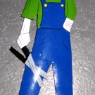 Hand Painted Metal Day of the Dead Figure, Man in Overalls with Pruning Shears
