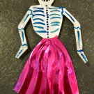 Hand Painted Tin Day of the Dead Figure, Women in Pink Skirt