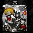 Stainless Steel Flask - 6oz., Day of the Dead Skeleton Couple with Black and White Flower Background