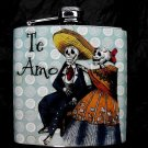 "Stainless Steel Flask - 6oz., Day of the Dead Skeleton Couple with ""Te Amo"" Banner"