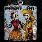 """Stainless Steel Flask - 6oz., Day of the Dead Skeleton Couple with """"Love Is"""" Banner"""