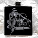 Stainless Steel Flask - 6oz., Man with Black Car, Black Background