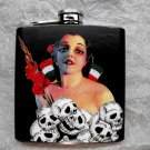 Stainless Steel Flask - 6oz., Women with Skulls and Flags