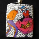 Stainless Steel Flask - 8oz., Dancing Day of the Dead Couple with Black and White Background