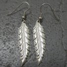 Light Weight Silver Metal Feather Earrings