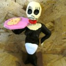 Clay Day of the Dead Figure, Waitress in Black Dress with Tray