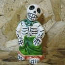 Ceramic Day of the Dead Figure, Woman in Green Skirt and Green and Brown Shawl