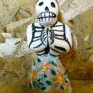Ceramic Day of the Dead Figure, Woman in Blue Skirt with Pink and Orange Flower Design