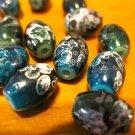 Blue Green Beads with White Swirls