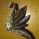 Vintage Silver Swan Pin with Pearls