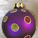 Purple Glass Polka Dot Ornament