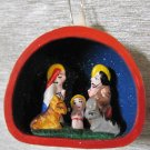Hand Made and Painted Clay Nativity Scene, Ornament
