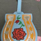 Vinyl Horse Shoe with Red Rose Luggage Tag