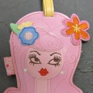 Vinyl Dolly Girl Luggage Tag, Pink Hair Blue and Orange Flowers