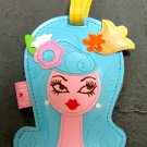 Vinyl Dolly Girl Luggage Tag, Blue Hair Pink and Yellow Flower