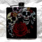 Stainless Steel Flask - 6oz., Skulls with Makeup, Red Rose, Black Background