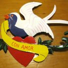 Hand Painted Tin Bird Hanging Ornament, White and Purple