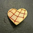 Gold Heart Pin with Red Spider Web Design